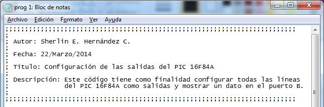 fig 2.12 Información preliminar del código fuente